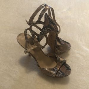 Via Spiga shiny bronze gold snakeskin print heels